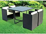 Cube 5 Piece Rattan Garden Patio Furniture Vase Dining Eating Picnic Table Set & 4 Chair Hide Away Neat Tidy Beautiful Contemporary Outdoor Living Garden Conservatory Patio Summer Sunny Innovative