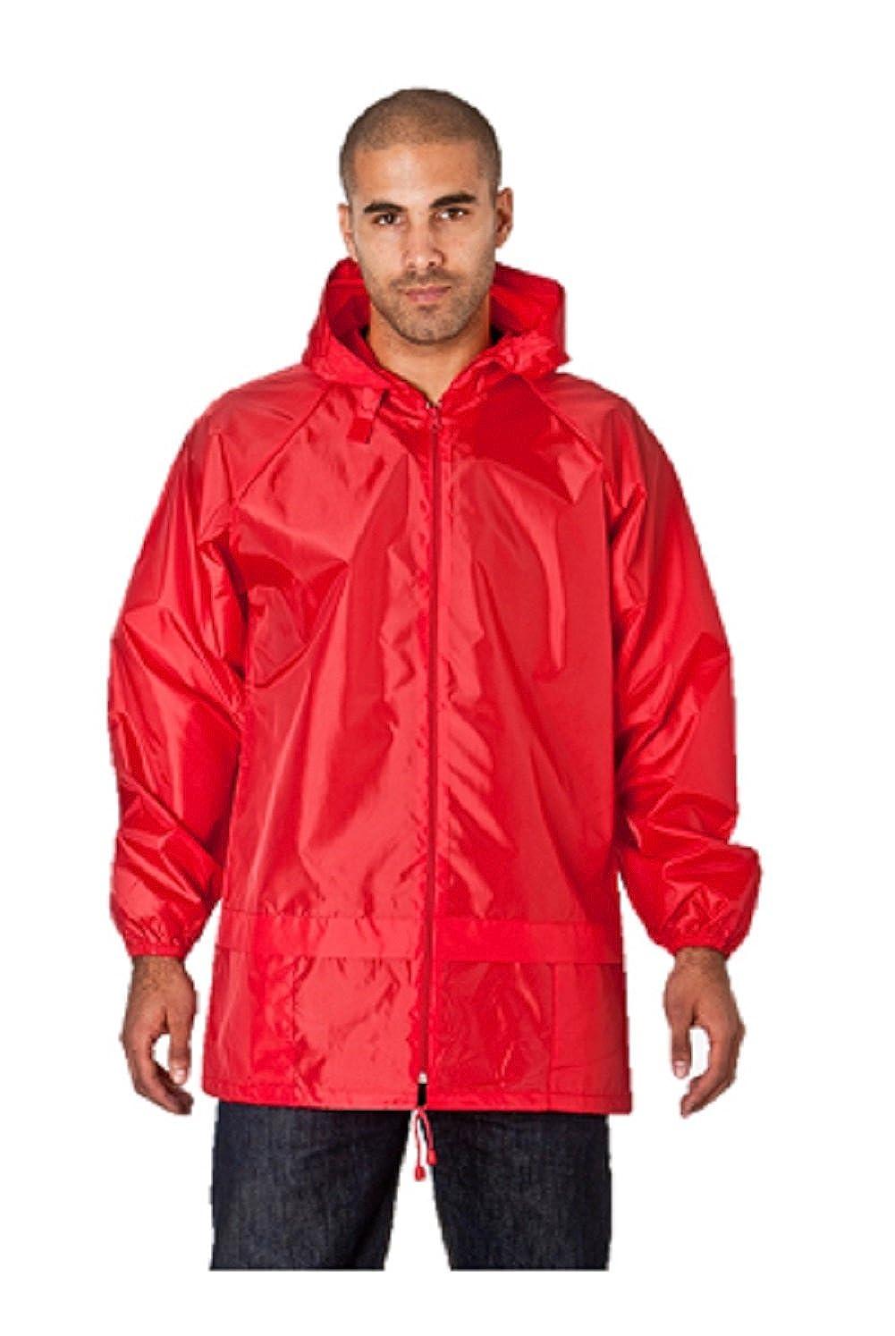 NEW ADULTS FULL ZIP HOODED RAIN MAC ANORAK KAGOOL IN BAG SIZE MEDIUM-XXL NEW
