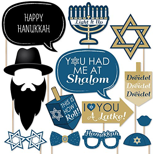 Big Dot of Happiness Happy Hanukkah - Hanukkah & Chanukah Photo Booth Props Kit - 20 Count ()
