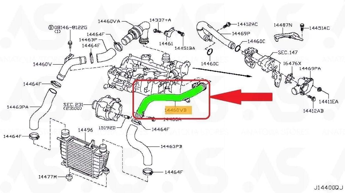 TUBO INTERCOOLER TUBO TUBO PARA JUKE//NV 200 1.5 DCI 144601FE0C