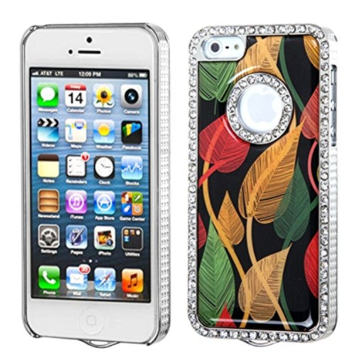MYBAT IPHONE5HPCBKELDZDI304WP Premium Executive Dazzling Diamonds Case for iPhone 5 / iPhone 5S - 1 Pack - Retail Packaging - Dancing Leaves