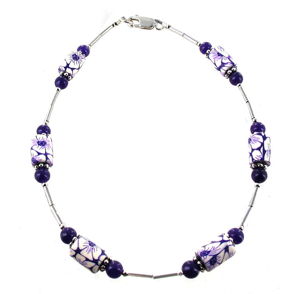 Timeless-Treasures Womens Purple Flower Fimo, Dyed Amethyst & Sterling Silver Beaded Gemstone Anklet with Daisies - 11''