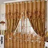 250*100cm Peony Pattern Curtain Living Room Window Tulle Sheer Curtain