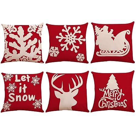 Cuscini Natalizi Per Divano.Zolimx Cuscini Natale Cuscini Natale Per Divano 6 Pz Natale
