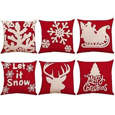 Amazon.com: Pack de 6 fundas de almohada de Navidad ...