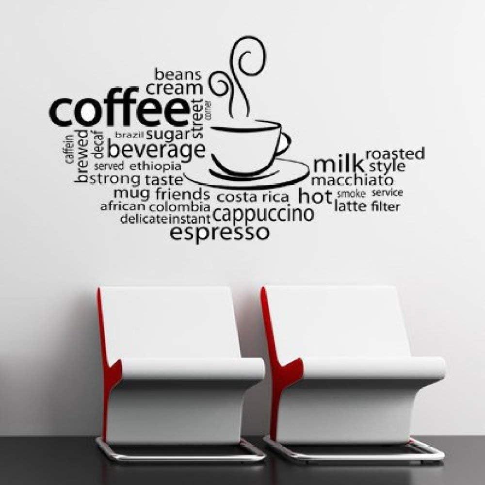 LUANQI Etiquetas de la Pared del café Etiqueta de la Pared del Estilo del café extraíble Restaurante Cafetería Tienda Decoración Murales de la Cocina extraíble 67x42cm: Amazon.es: Hogar
