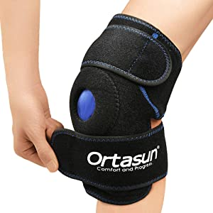 ORTASUN Knee Brace with Gel Pad, Knee Ice Pack Adjustable Compression, Reusable Hot & Cold Therapy, Meniscus Tear Support, Recovery of Movement, Bursitis Pain, Sprain, Swelling and Arthritis