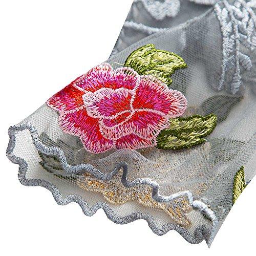 Tüll Kleid Abend Bestickte Cocktail dezzal Blumen Damen transparenten InCgUCwzq