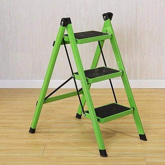 Escalera de 3 peldaños, escalera plegable antideslizante, escalera de hierro, taburete multifuncional para el hogar, verde: Amazon.es: Bricolaje y herramientas
