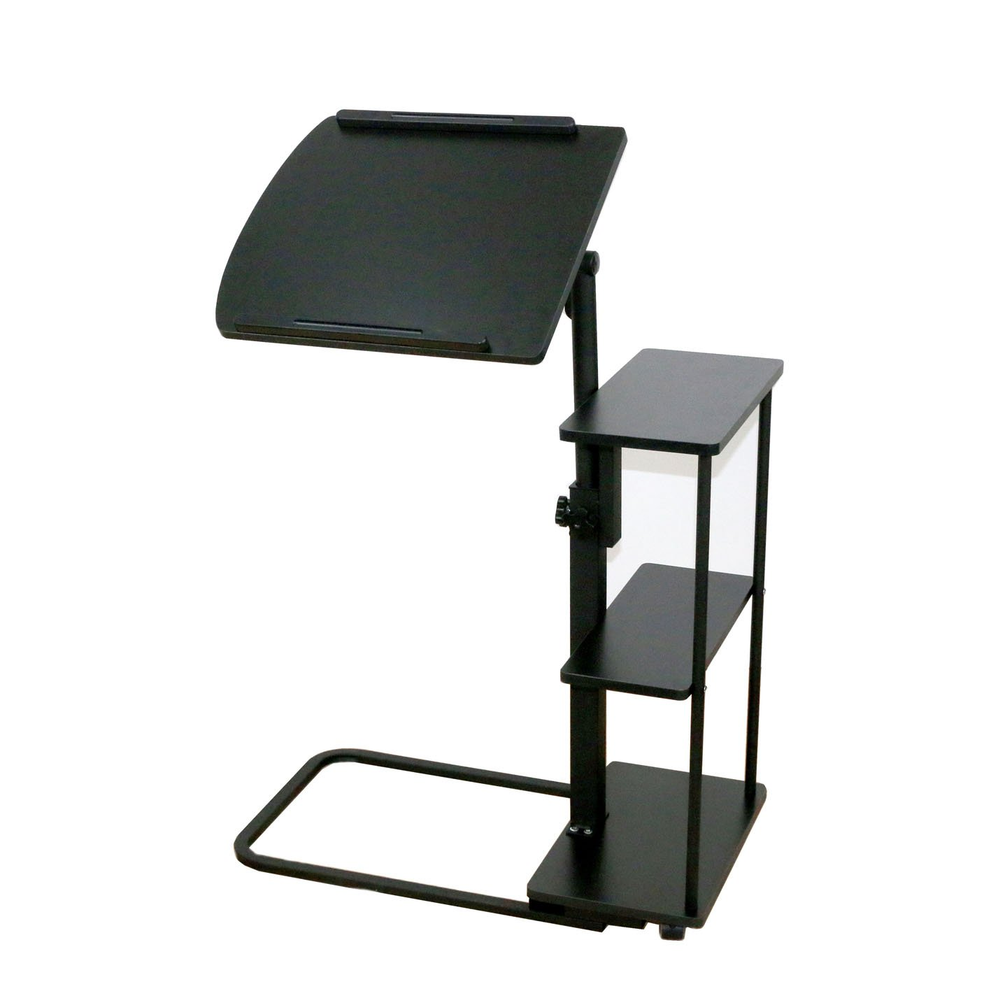 UNICOO - Height Adjustable Overbed Table, Sofa Side Table, Laptop Cart (102-Black)