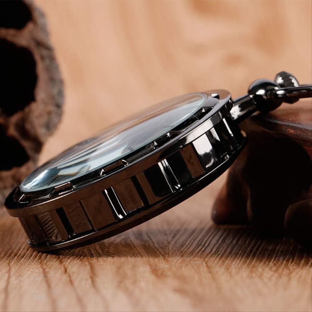 Pocket watchMechanical Montre de Poche Hommes Femmes Steampunk KaiKai Black