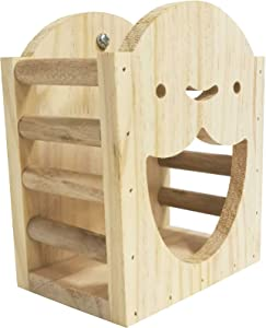 kathson Rabbit Hay Feeder Rack Wood Grass Holder Less Wasted Hay Box Food Feeding Manger Hanging Hay Dispenser for Bunny Chinchilla Guinea Pigs Small Animals