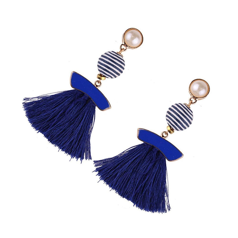 Dana Carrie Aretes de tejer telas personalizadas de geometría de flujo, siempre perla con orejas azul