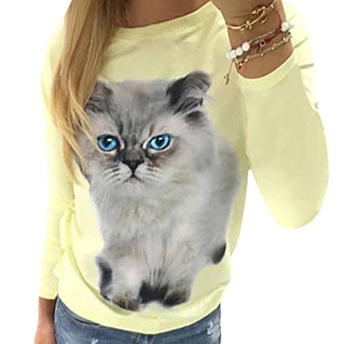 QIYUN.Z Lindos Ojos Azules Gato Mujeres Impresas Manga Larga Amarillo Casuales Camisas Tops Basicos