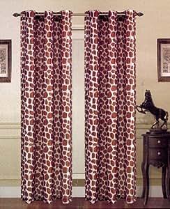 Zebra Giraffe Leopard Animal Print Faux Silk Curtain Grommets Panel (Giraffe)
