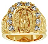 The Bling Factory Large 18mm 14k Gold Plated Guadalupe Virgin Mary CZ Horseshoe Ring, Size 7 + Jewelry Polishing Cloth