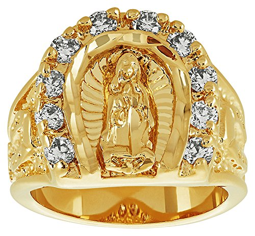 The Bling Factory Large 18mm 14k Gold Plated Guadalupe Virgin Mary CZ Horseshoe Ring, Size 9 + Jewelry Polishing Cloth -
