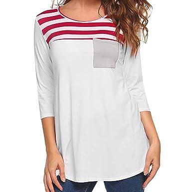 18730844a24c ESAILQ Frauen Plus Größe Pullover Langarm Streifen Shirt Tops Bluse (S,  Rot-1