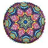 Franterd Floor Pillows, Round Pillowcases, Indian Floor Cushions, Decorative Pillows, Outdoor Cushion Cover, Boho Pillow (Purple)
