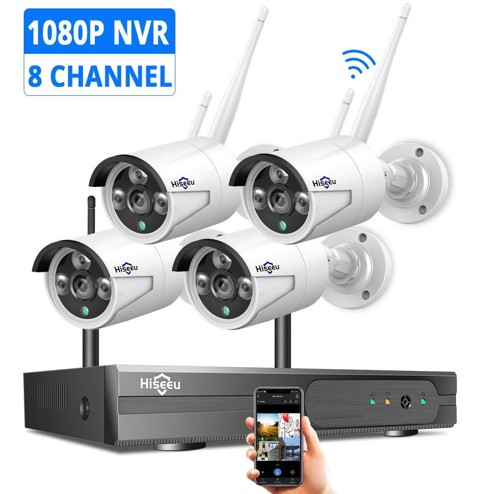 Hiseeu Security Camera System Wireless,[8CH Expandable 1080P NVR]4Pcs 1080P 2.0MP Outdoor/ Indoor WiFi Surveillance Cameras with Night Vision, Weatherproof, Motion Detection, Remote Monitoring, No HDD by Hiseeu