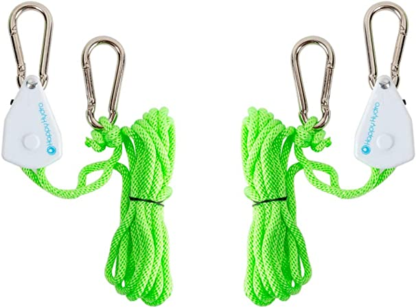 Lighting Fixture For Hanging Fan Plant Growing Tent Exhaust System LED Grow Lights Heavy Duty Rope Clip Hanger 1 Pair For Indoor Hydroponic Gardening Ratchet Pulley Hangers