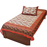 Indian Gift Emporium Traditional Style Single Bed Sheet Cover Pillow 411
