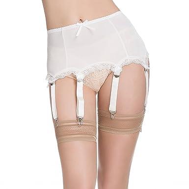 80840cde1d3 LIXFDT Women s Ivory Vintage Garter Belt 6 Straps Metal Clip Suspender Belt  for Thigh High Stocking