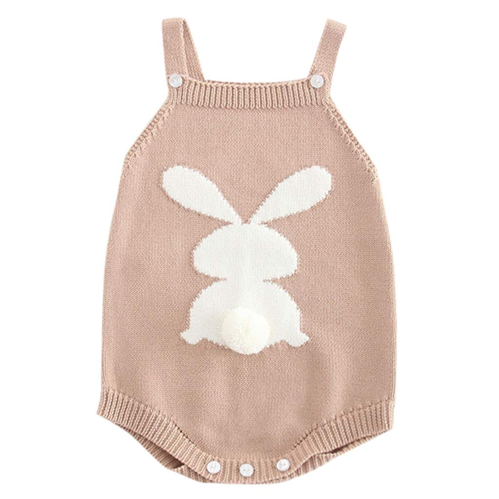 Knit Baby Romper, Waymine Infant Girl Rabbit Embroidered Suspender Bodysuit Clothes