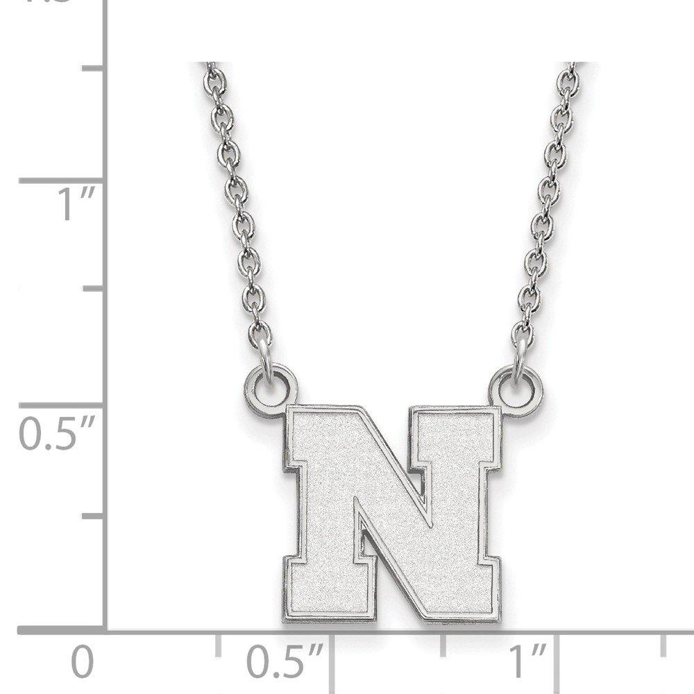 Mia Diamonds 925 Sterling Silver LogoArt University of Nebraska Small Pendant with Necklace
