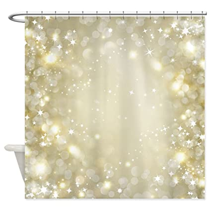 CafePress Pretty Gold And Silver Sparkle Bokeh Shower Curtai Decorative Fabric Curtain 69quot