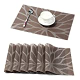 HEBE Placemats for Table Easy to Clean Indoor/Outdoor Woven Vinyl Placemat Set of 6 Heat Resistant Stain-resistant Table Mats