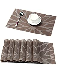 hebe placemats for dining table set of 6 durable woven vinyl kitchen table mats placemat set washable heat resistant stain resistant non slip placemats easy - Kitchen Table Mats