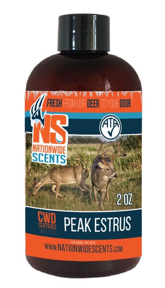 Nationwide Scents Deer Attractant Scent Lure, Purest, Fresh UNFROZEN Natural Peak Estrus Whitetail Doe Urine, Estrus Scent (2 Ounce)