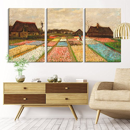 3 Panel Bulb Fields by Vincent Van Gogh x 3 Panels