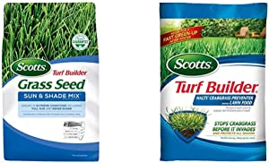 Scotts Turf Builder Grass Seed Sun & Shade Mix - Shade & Drought Resistant Grass Seed for Lawns, Seeds up to 2,800 sq. ft, 7 lb. & Turf Builder Halts Crabgrass Preventer with Lawn Food, 5,000 sq. ft.