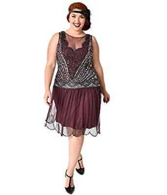 Plus Size 1920s Style Plum & Silver Beaded Deco Elaina Flapper ...