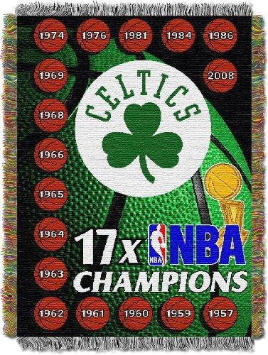 Officially Licensed NBA Boston Celtics Commemorative Woven Tapestry Throw Blanket, 48