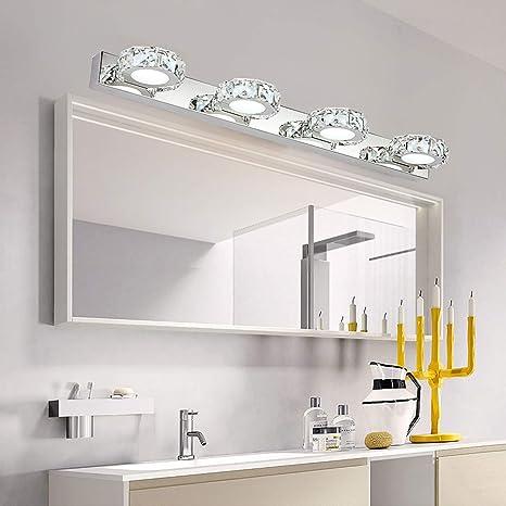 Ganeed Bathroom Vanity Lights, 12W Crystal LED Vanity Light, 6000K Cool  White Bathroom Light Fixtures Modern Mirror Lamps Wall Lights - - Amazon.com
