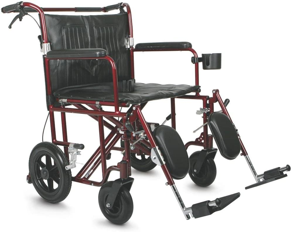"Medline Heavy Duty Bariatric Transport Chair, Extra Wide 22"" Seat, Permanent Full-Length Arms, Elevating Legrests, Red Frame: Health & Personal Care"