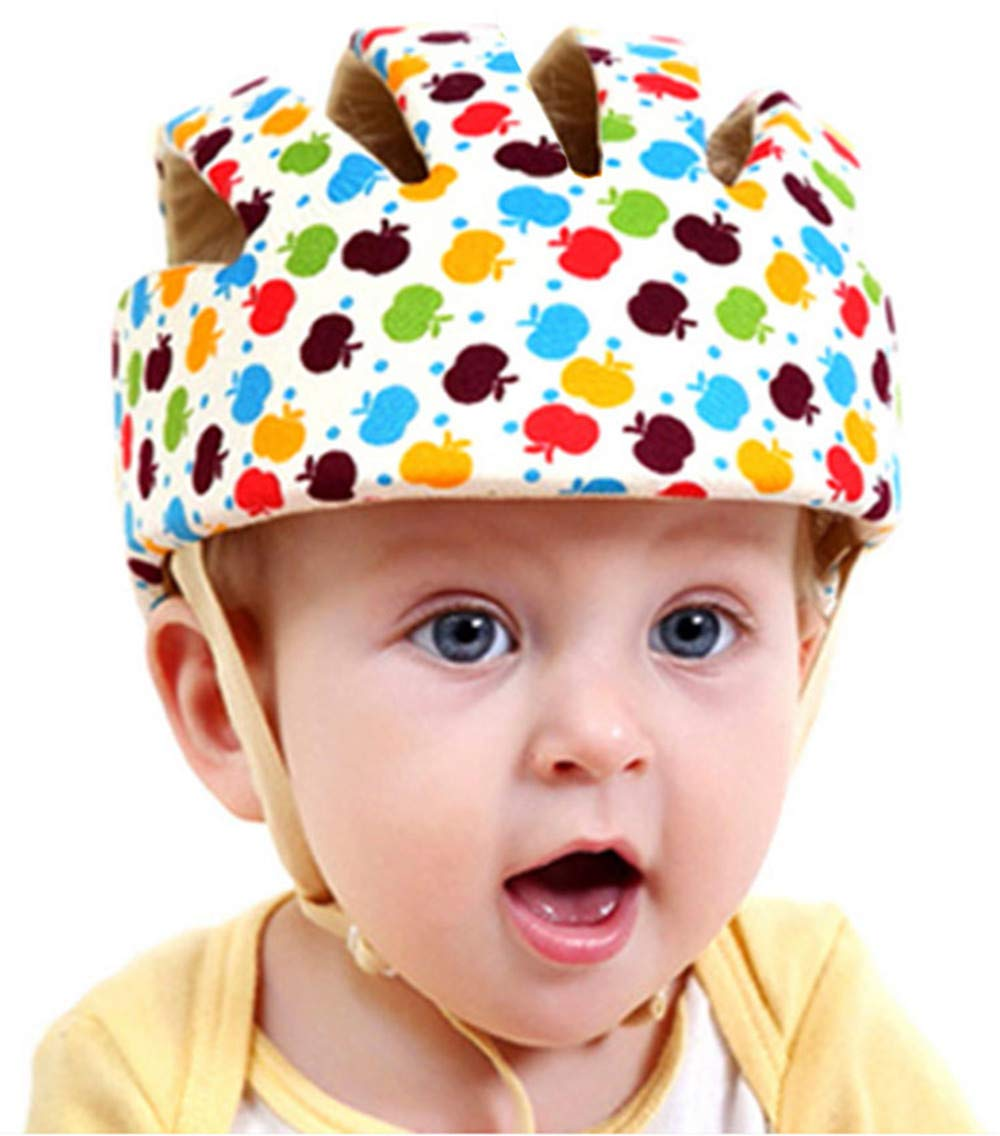 Huifen Baby Children Infant Toddler Adjustable Safety Helmet Headguard Protective Harnesses Cap Blue, Providing Safer Environment When Learning to Crawl Walk Playing Baby Infant Apple Hat (Apple)