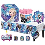 Another Dream Frozen Birthday Party Pack for 16 with Plates, Napkins, Cups, Tablecover, and Candles