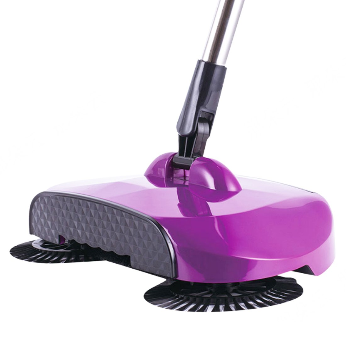 WQWL New Upgraded Aotomatic 360 Degrees Rotation 3-In-1 Non-Electricity Lazy Household Hand Push Adjustable Rod Sweeper Broom Floor Cleaner Dustpan Trash Bin Set (purple)