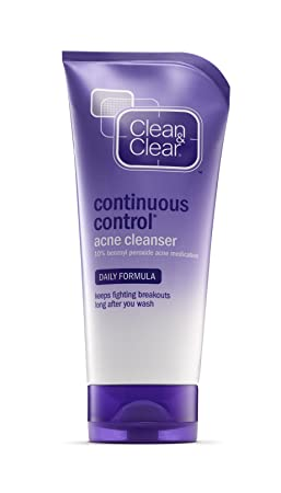Clean Clear Continuous Control Acne Cleanser, 5-Ounce Tubes Pack of 4