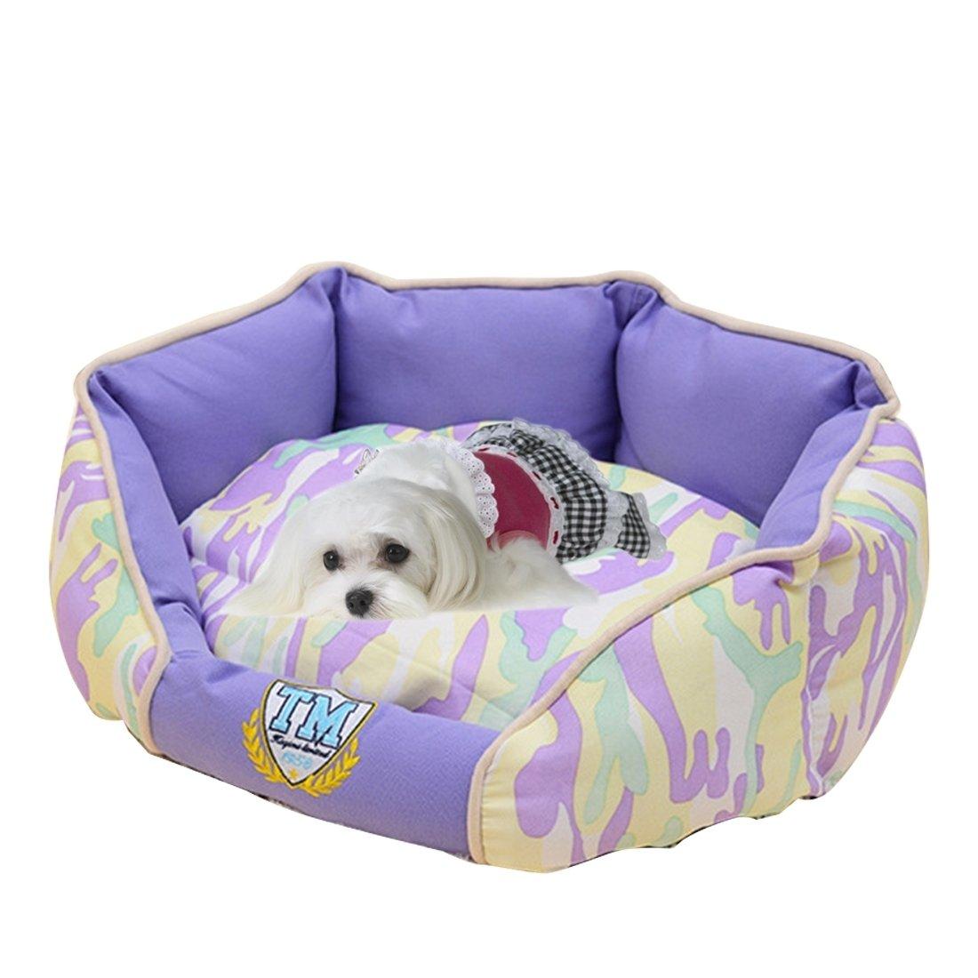 YongYeYaoBEN Nido de la casa del Animal doméstico Completamente Lavable del Camuflaje, Tamaño Pequeño: 50.0 x 40.0 x 22.0cm (Color : Purple)