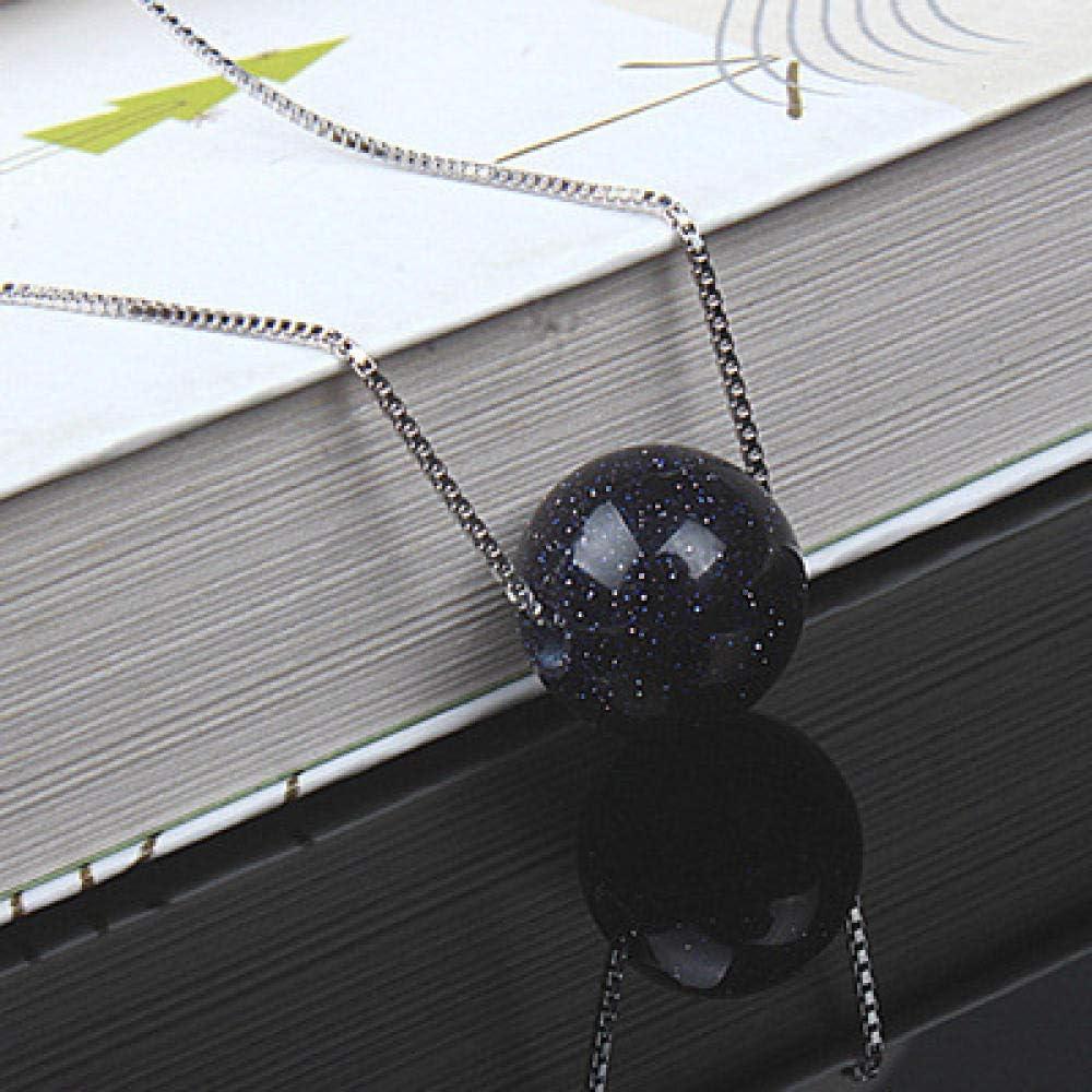 BAIMM Wild S925 Collar de Piedras Preciosas de Plata esterlina Collar de Cuentas de Arenisca Azul Natural Collar de Cuentas de una Sola Rama Joyería Elegante
