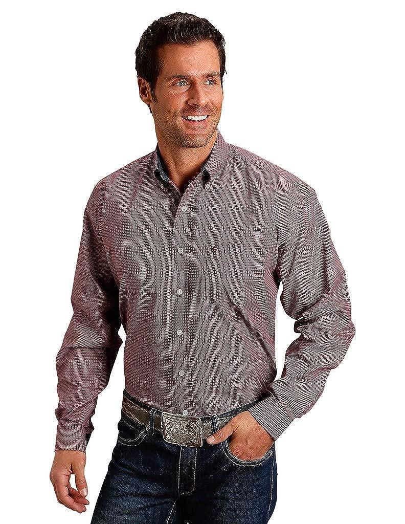 Stetson 1 Pkt Mens Wine 100/% Cotton Keyhole Geo BD L//S Shirt