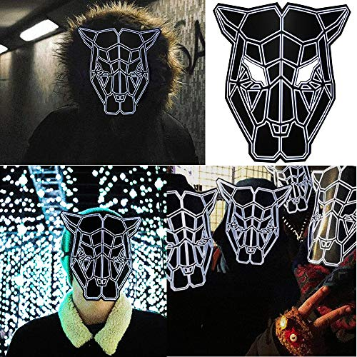 Unpara 2018 Halloween LED Mask Rave Dance Party Sound Reactive Light Up Adjustable Mask, Black by Unpara (Image #1)