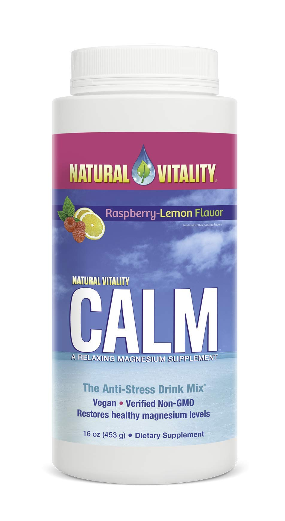 Natural Vitality Calm, The Anti-Stress Dietary Supplement Powder, Raspberry Lemon - 16ounce