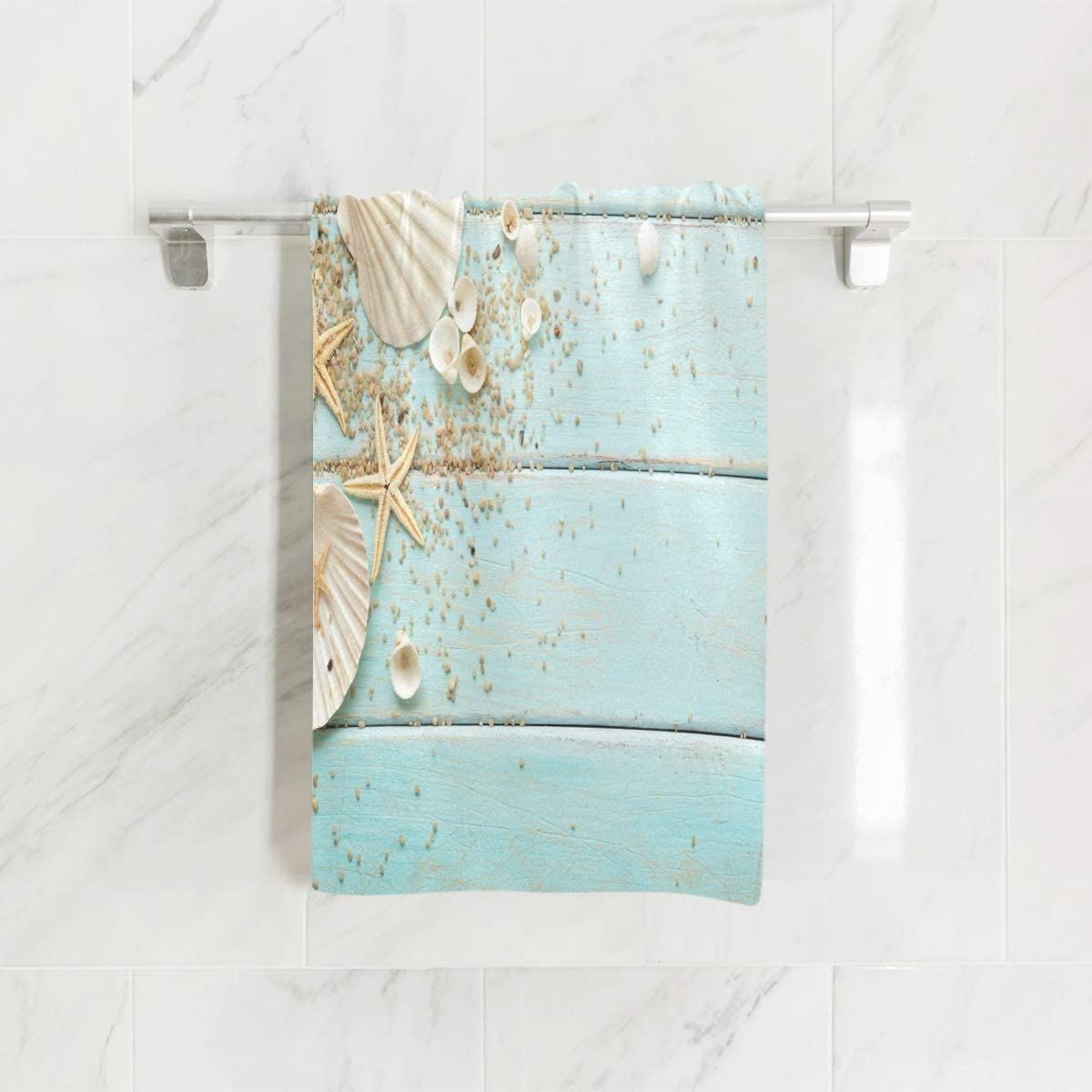 SUABO Seashells Hand Towel Dish Towels Cotton Face Towel 30x15 inch Gym Yoga Towels for Bath Decor
