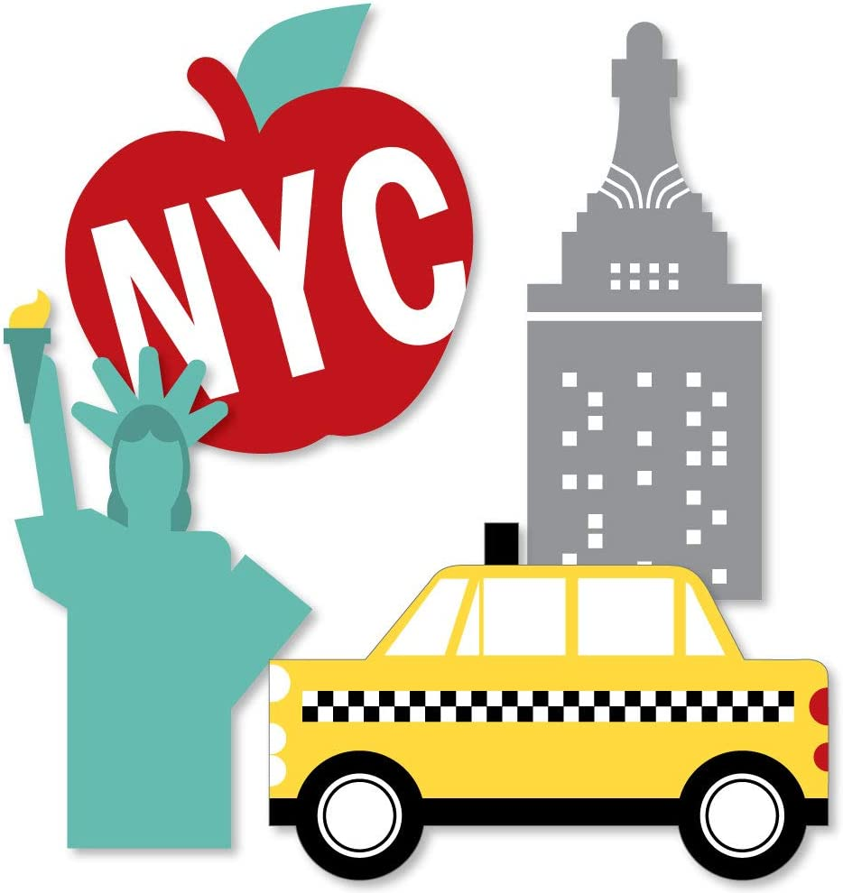 Big Dot of Happiness NYC Cityscape - Big Apple, Taxi, Skyscraper and Lady Liberty Decorations DIY New York City Party Essentials - Set of 20